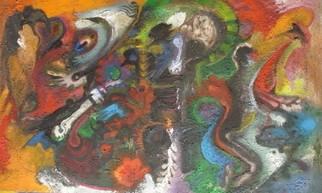 Mario Ortiz Martinez Artwork PREHISPANIC RITES, 2009 Acrylic Painting, Abstract Figurative