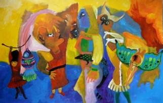 Mario Ortiz Martinez Artwork PREPARING THE FIESTA, 2009 Acrylic Painting,