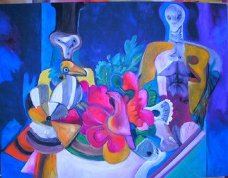 Mario Ortiz Martinez Artwork THE BANQUET, 2008 Oil Painting, Abstract Figurative