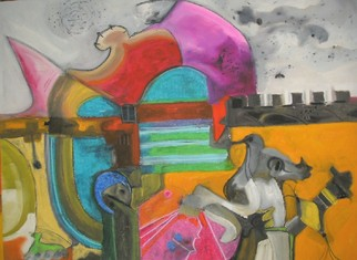 Mario Ortiz Martinez Artwork THE CASTLE OF ABSURD, 2008 Oil Painting, Abstract Figurative