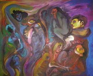 Mario Ortiz Martinez Artwork THE CAVE OF LUST, 2009 Oil Painting, Abstract Figurative