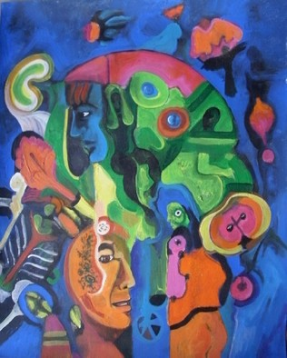 Mario Ortiz Martinez Artwork THE FLOWERING NIGHT, 2009 Acrylic Painting, Abstract Figurative