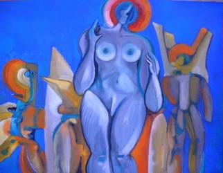 Mario Ortiz Martinez Artwork VENUS IN BLUE, 2008 Oil Painting, Abstract Figurative
