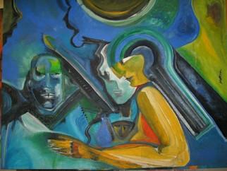 Mario Ortiz Martinez Artwork WARRIORS INTERLUDE, 2008 Oil Painting, Abstract Figurative