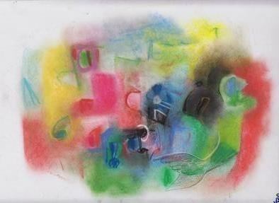 Mario Ortiz Martinez: 'abstract v', 2019 Pastel, Abstract Figurative. Artist Description: A SERIES OF PASTELS.  TRYING TO DEPICT ALL OF MY UNIVERSE OF VISION, EMOTIONS, IMAGES RECORDED, SUDDEN INSPIRATION, ALL MY POWER OF INTENTION TO COMMUNICATE WITH THE PEOPLE.  ALMOST ALL OF THEM MARKED WITH THE MINIMUM PRICE PERMITTED BY THE SITE.  FREE SHIPPING VIA USPS. ...