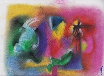 Mario Ortiz Martinez: 'fragilty of lives', 2019 Pastel, Abstract Figurative. Artist Description: ALL KIND OF ELEMENTS DECORATING THIS SUGGESTIVE PAGE OF ART.  COLORFUL PASTEL ON PAPER.  THE FEAST OF IMAGINATION, PURE PLEASURE TO MANIPULATE THIS EXPRESSIVE MEDIA.  A RICH COLLECTION SUITABLE TO DECORATE THAT SPECIAL SPACE OF YOUR ROOM.  ...