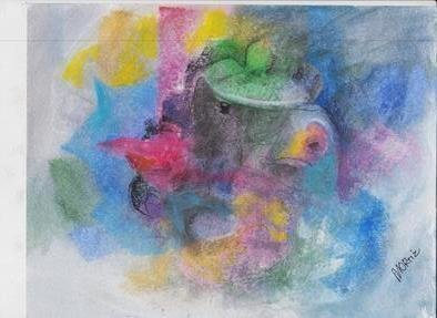 Mario Ortiz Martinez: 'introduction to a soft dream', 2019 Pastel, Abstract Figurative. Artist Description: MISTERIOUS, SCENE, COLLAGE STYLE IN A IMPRESSIONIST MOOD.  COLORFUL DREAM ...