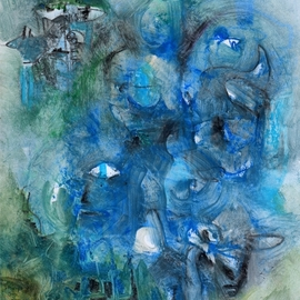Mario Ortiz Martinez: 'reality is all but blue', 2020 Oil Painting, Abstract Figurative. Artist Description: What if reality were blue, the color of innocence, of fresh wind, a discreet spring scent ...