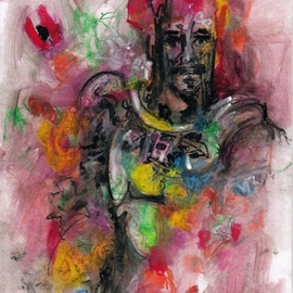 Mario Ortiz Martinez: 'warrior', 2020 Oil Painting, Abstract Figurative. Artist Description: The fact that a type of face appears involuntarily and constantly in our paintings indicates that the vibration of a being from another era graciously wants to send a greeting. Why not grant it ...