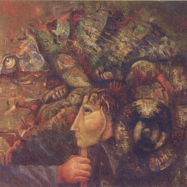 Mark Makarov: 'Chameleon', 1995 Oil Painting, Zeitgeist. Artist Description:  Drawing Pictures Painting Artists of Russia The artist Pictures of artists Art Painting by oil Works of artists Russian pictures The modern art Modern artists The big pictures Sale of pictures To look pictures Beautiful pictures  ...