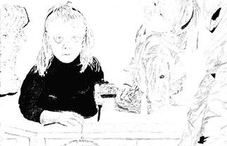 Mark Struzynski: 'Girls Knife', 1993 Mixed Media Photography, Children. Girls W/ Knife is part of a process devoloped by taking photos of drawings made from Photographs. The photos are then projected onto Photo- emulsion  canvass....