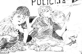 Mark Struzynski: 'Policija', 1992 Mixed Media Photography, Children. Policija is part of a process devoloped by taking photos of drawings made from Photographs. The photos are then projected onto Photo- emulsion  canvass....