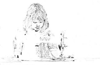 Mark Struzynski: 'SewingGirl', 1989 Mixed Media Photography, Children. SewingGirl is part of a process devoloped by taking photos of drawings made from Photographs. The photos are then projected onto Photo- emulsion  canvass....