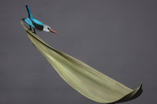 Mark Dedrie: 'woodland kingfisher', 2020 Bronze Sculpture, Birds. The bronze kingfisher stands on a bronze palm leaf. This whole sculpture is on a granite. ...