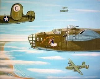 Mark Dodson: 'The Oklahoman 1943', 2006 Acrylic Painting, Military.  The Oklahoman - a B- 24D of the 8th Air Force 389th BG 566th BS in WWII ...