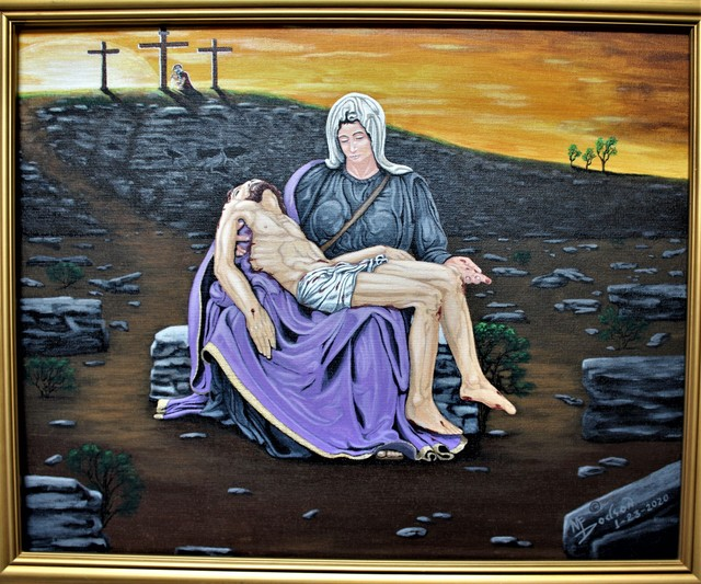 Mark Dodson  'La Pieta Scene', created in 2020, Original Painting Acrylic.