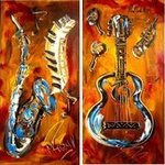 4 CANVASES ART  by MARK KAZAV JAZZ MUSIC By Mark Kazav