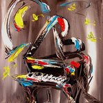 JAZZ PIANO MODERN ABSTRACT ORIGINAL OIL PAINTING BY KAZAV By Mark Kazav