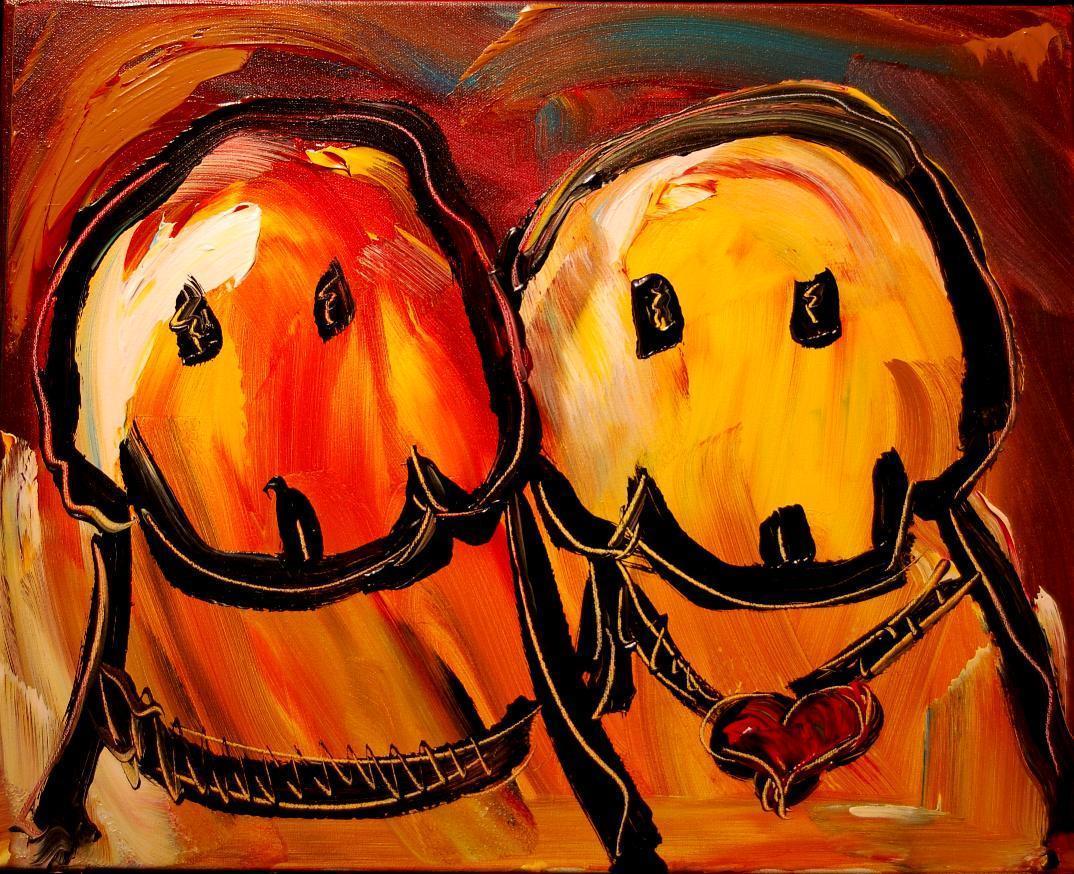 Mark Kazav TWO_DOGS_FINE_ART_original_oil_painting_MODERN_ABSTRACT_CANADIAN-1353175632l