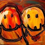 TWO DOGS FINE ART original oil painting MODERN ABSTRACT CANADIAN By Mark Kazav