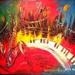 iPAINT JAZZ  original oil painting MODERN  PAINTING SIGNED BY KAZAV By Mark Kazav
