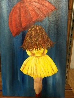 Elisabeth Wells: 'city girl red umbrella', 2016 Acrylic Painting, Impressionism. Artist Description: Origional artwork painted by me of a woman dressed in a yellow dress walking with a red umbrella...