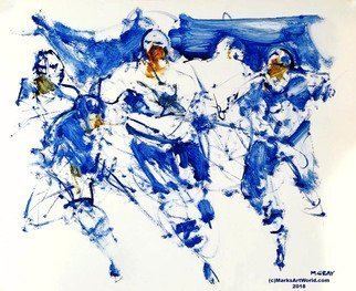 Mark Gray: 'blue hockey by mark gray', 2018 Oil Painting, Sports. Artist Description: Blue Hockey by Mark Gray18x22www. MarksArtWorld. com...
