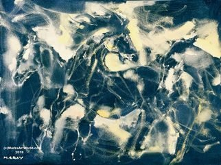 Mark Gray: 'blue horses by mark gray', 2018 Oil Painting, Animals. Artist Description: Blue Horses by Mark Gray...
