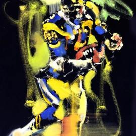 Mark Gray: 'eric dickerson by mark gray', 2018 Oil Painting, Sports. Artist Description: Eric Dickerson - Rams Football by Mark Gray18 x24  - Oil on Canvas www. MarksArtWorld. com...