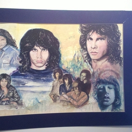 Mark Amodeo: 'Morrison Montage', 1979 Acrylic Painting, Famous People. Artist Description:  The Doors rock Band, Acrylic on illustration board ...