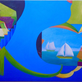 Mark Wholey: 'Blue HEad', 2016 Oil Painting, Surrealism. Artist Description:   Perspective, seascape, figurative and abstract in an intriguing fresh composition. ...