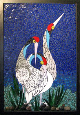 Mosaic by Marlies Wandres titled: Cranes, created in 2013