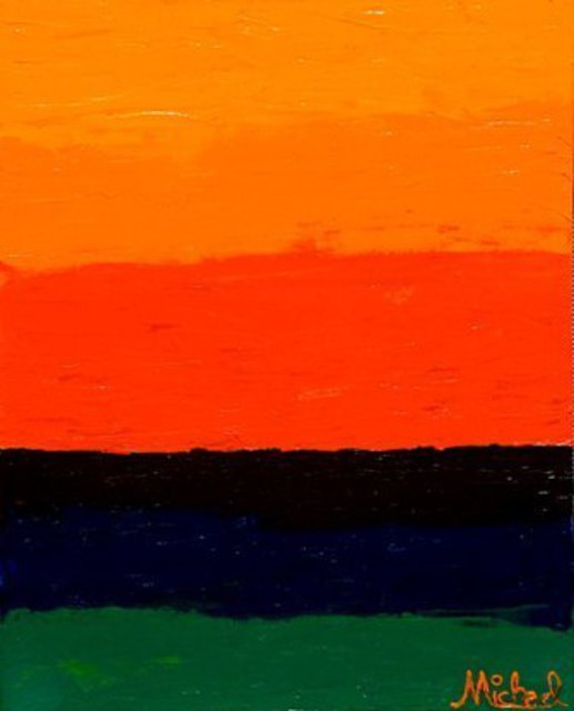 Michael Arnold  'Sunset Original Signed Acrylic Painting On Canvas ', created in 2008, Original Painting Acrylic.
