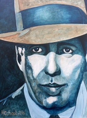 Michael Arnold: 'bogart', 2016 Acrylic Painting, Movies.  Bogart  is an original, signed acrylic painting on canvas by Citrus County Florida artist Michael Arnold.This painting is the first in a series of Hollywood Legends paintings I plan to work on. This is a painting of Humphrey Bogart as Philip Marlowe in the film Howard Hawks film The...