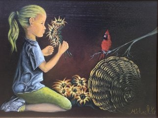 Michael Arnold: 'girl with a cardinal', 2017 Acrylic Painting, Birds. Artist Description: Girl with a cardinal is an original acrylic painting on canvas by award winning artist Michael Arnold.  The painting displays a child sitting with some sunflowers and is joined by a cardinal.  ...