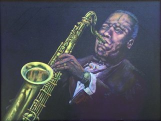 Michael Arnold: 'jazz saxophone player', 2018 Acrylic Painting, Music. Artist Description:  Jazz Saxophone Player  is an original, signed acrylic painting on canvas by Citrus County Florida Artist Michael Arnold.This painting is of jazz saxophonist and composer Wayne Shorter.I have wanted to return to the subject of the saxophone in a painting for some time and hoped to ...