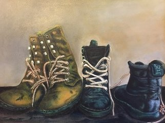 Michael Arnold: 'old boots', 2018 Acrylic Painting, Country. Artist Description:  Old Boots  is an original, signed acrylic painting on canvas by Citrus County Florida Artist Michael Arnold.I set out to paint from start to finish a work that copied how the old masters used to paint. They would first paint the entire painting in grisaille  black and ...