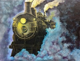 Michael Arnold: 'steam engine 519', 2018 Acrylic Painting, Trains. Artist Description: Steam Engine 519 is a gallery wrapped, acrylic painting measuring 45 3 4 inches x 34 1 2 inches. I have been intrigued by the idea of painting a train and settled on a steam engine. I wanted to create a mood of the engine chugging along at ...