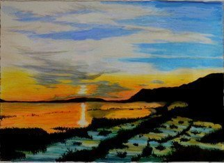Mario Tello: 'Chapala Lake Sunset', 2016 Mixed Media, Marine.  watercolor on watercolor paper  ...