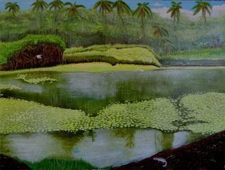 Mario Tello: 'Tropical Pond', 2016 Oil Painting, Marine. painting with Inks, airbrush, watercolor on watercolor paper...