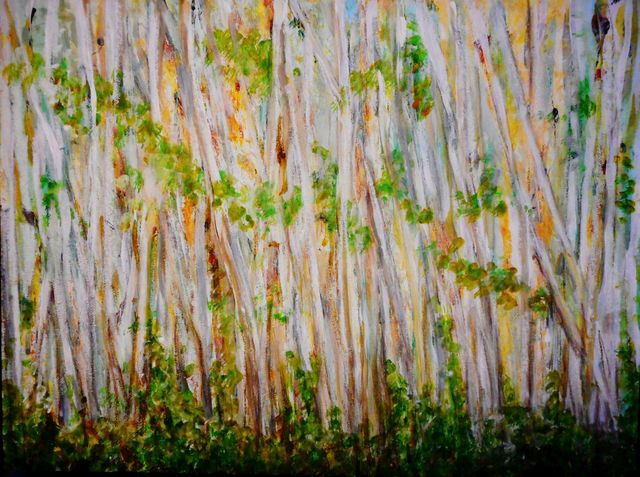 Mario Tello  'Cypress Forest', created in 2020, Original Painting Oil.
