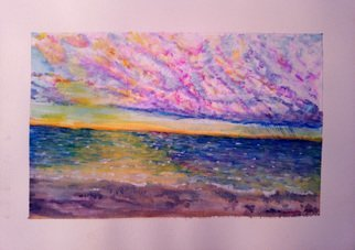 Mario Tello: 'qualicum bay sunset', 2020 Watercolor, Marine. Sunset at Qualicum bay...