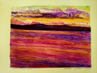 Mario Tello: 'qualicum sunset', 2020 Watercolor, Marine. The colors of the sunset taint sky and water. ...