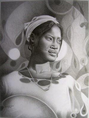 Moses Marquis Okpeyowa Artwork Aisha fulani girl, 2007 Aisha fulani girl, Abstract Figurative