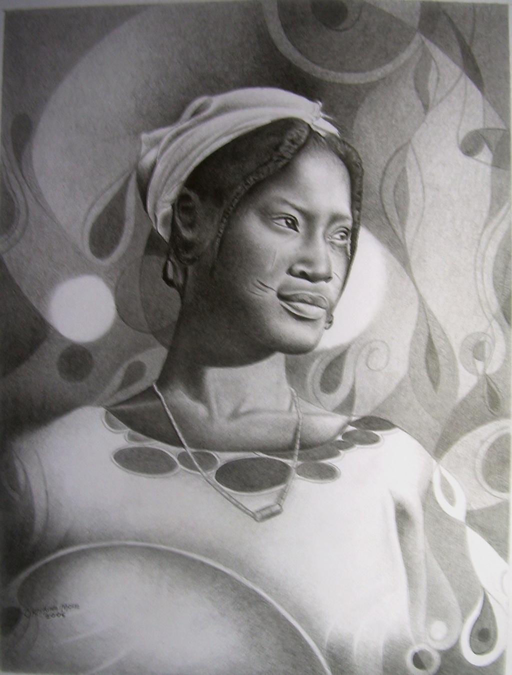 Moses marquis okpeyowa aisha fulani girl 2007 pencil drawing abstract figurative