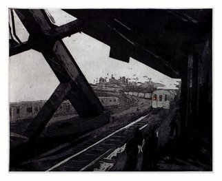 Martha Hayden Artwork F Train at Smith and Ninth, 2005 Intaglio, Abstract Landscape