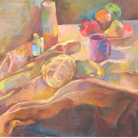 Martha Hayden: 'Still Life with Loaves', 2010 Oil Painting, Still Life. Artist Description:      Landscape, Michigan, Wisconsin artist, woman painter, color, composition, trees, rural, outdoor,          ...