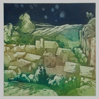 Martha Hayden: 'The Gurzon Valley', 2008 Etching, Abstract Landscape.  color acquatint of Rochefort- en- terre, Breton ...
