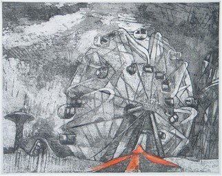 Martha Hayden Artwork The Wonder Wheel, Coney Island, 2006 Intaglio - Open Edition, Abstract Landscape