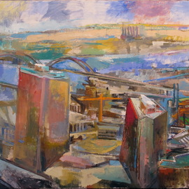 Martha Hayden: 'downtown st louis', 2019 Oil Painting, Urban. Artist Description: Downtown St. LouisThis scene is observed from the 30th story, allowing me a wide view of the landscape. The building in the front right was interesting to paint as it sits on a platform of street- level shops and a parking garage. This building is also an ...